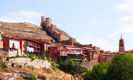 View of Albarracin with old fortress wall. Aragon