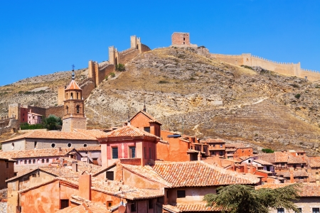 Albarracin with ancient fortress wall. Teruel,  Spain