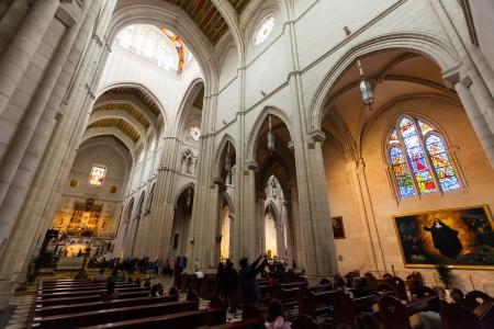 MADRID, SPAIN - APRIL 25: Interior of Almudena Cathedral in April 25, 2013 in Madrid, Spain. Santa Maria la Real de La Almudena - main church of Spain Stock Photo - 22792915