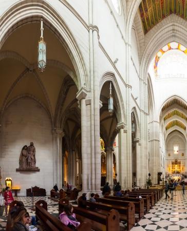 MADRID, SPAIN - APRIL 25: Inside view of Almudena Cathedral in April 25, 2013 in Madrid, Spain.  Santa Maria la Real de La Almudena cathedral - main church of Spain