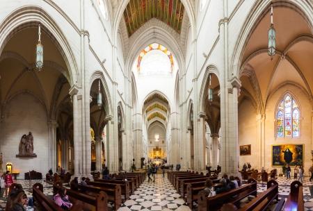 MADRID, SPAIN - APRIL 25: Panorama of interior of Almudena Cathedral in April 25, 2013 in Madrid, Spain.  Santa Maria la Real de La Almudena is  cathedral - main church of Spain