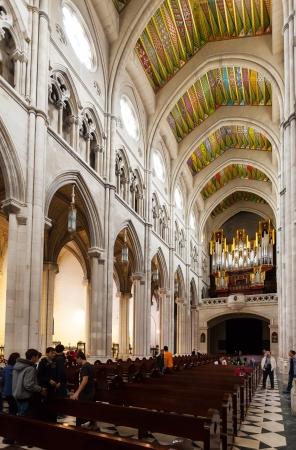 MADRID, SPAIN - APRIL 25: Organ in interior of Almudena Cathedral in April 25, 2013 in Madrid, Spain.  Santa Maria la Real de La Almudena is Catholic cathedral - main church of Spain