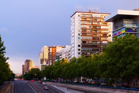 castellana: Paseo de la Castellana - most important street in new areas of Madrid in evening. Spain