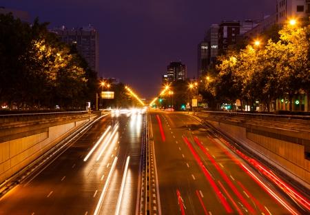 paseo: Traffic at Paseo de la Castellana in evening.  Madrid, Spain