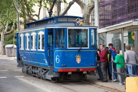 blau: BARCELONA, SPAIN - MAY 18: Tramvia Blau (Blue tramway)in May 18, 2013 in Barcelona, Spain. Funicular railway connects Funicular del Tibidabo and Barcelona Metro. It was inaugurated in 1901