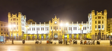 Exterior of North station in night. Valencia, Spain photo