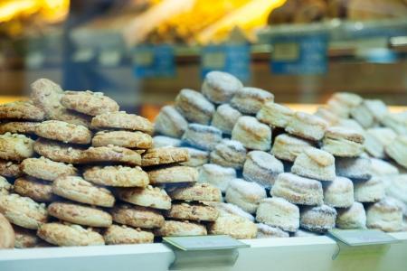 store window: assortment of fresh pastry  at store window