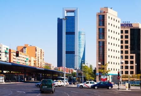 MADRID, SPAIN - AUGUST 29: Day view of Paseo de la Castellana in August 29, 2013 in Madrid, Spain.  Bus station and Four Towers Business Area