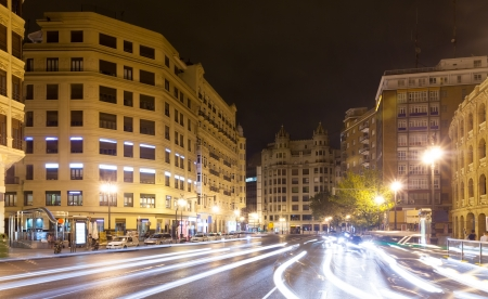 street in night - Carrer de Xativa. Valencia, Spain photo