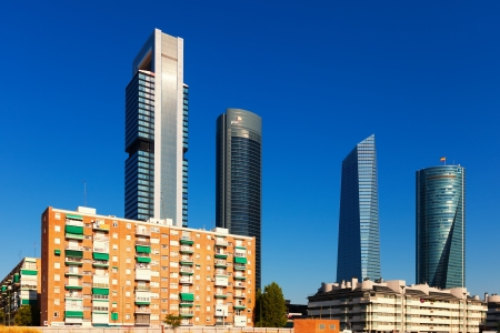MADRID, SPAIN - AUGUST 29: Day view of Cuatro Torres Business Area in August 29, 2013 in Madrid, Spain.  Business district constructed in 2008