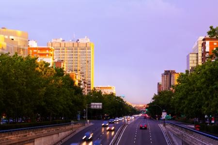 paseo:  Paseo de la Castellana in sunset time.  Madrid, Spain