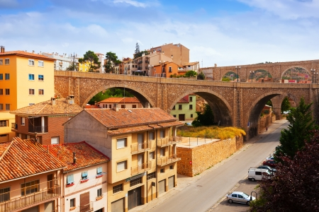 acueducto: Road bridge and aqueduct in Teruel. Spain
