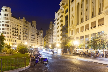 valencia: Night view of Placa del Ajuntament. Valencia, Spain