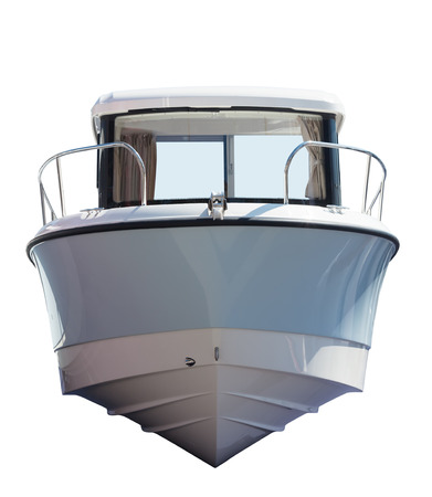 speedboat: Front view of motor boat. Isolated over white background