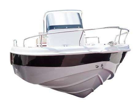 recreational boat: motor boat. Isolated over white background Stock Photo