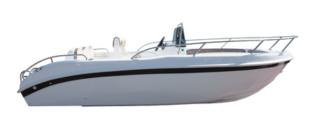 sea side: New motor speedboat. Isolated over white background