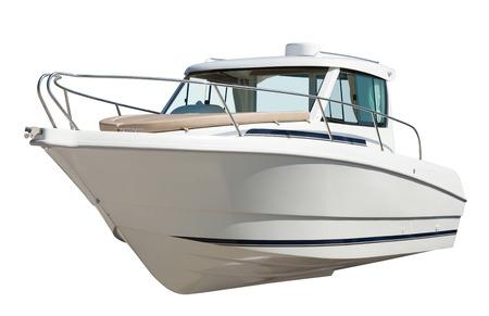 Snelheid motorboot. Geïsoleerd over witte achtergrond Stockfoto