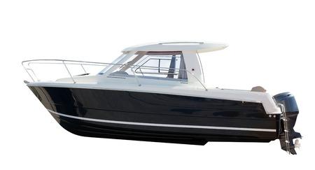 Zijaanzicht van motorboot. Geïsoleerde over witte achtergrond Stockfoto - 23050625