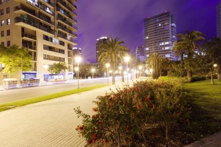 Street in night city. Barcelona, Catalonia photo