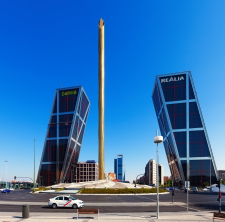 MADRID, SPAIN - AUGUST 29: La Puerta de Europa on August 29, 2013 in Madrid, Spain. Caja Madrid Obelisk and KIO towers from Monument to Calvo Sotelo