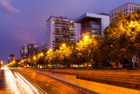 Paseo de la Castellana in night time.  Madrid, photo