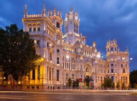 palacio de comunicaciones: View of Palace of Communication in summer dusk. Madrid, Spain Stock Photo