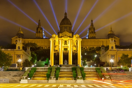 National Palace of Montjuic in night. Barcelona, Catalonia  photo