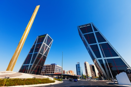 MADRID, SPAIN - AUGUST 29: KIO towers or Gateway of Europe at Plaza de Castilla on September 29, 2013 in Madrid, Spain