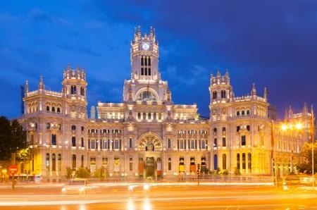 cibeles: View of Palacio de Cibeles in summer evening. Madrid, Spain