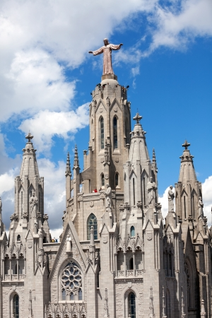 cor: BARCELONA, SPAIN - MAY 18: Top of Temple Expiatori del Sagrat Cor in May 18, 2013 in Barcelona, Spain.  The construction of the temple dedicated to Sacred Heart, lasted from 1902 to 1961