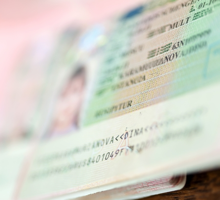 schengen: Close up of page with Schengen visa Stock Photo