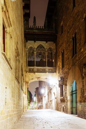 gotico: vista nocturna de Barcelona - Barrio G�tico. Catalu�a