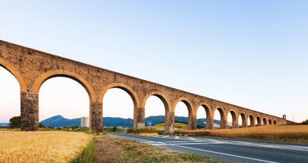 acueducto: Acueducto de Noain by architect Ventura Rodriguez. Navarre. Spain  Stock Photo