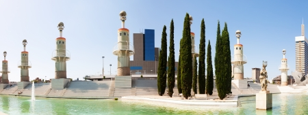 Panorama of Parc de l'Espanya Industrial in Barcelona. Catalonia, Spain Stock Photo - 23355600