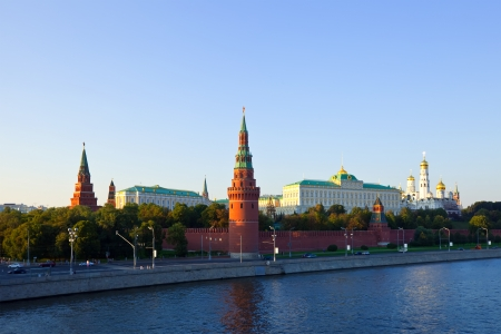 View of Moscow Kremlin in sunset photo