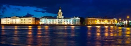 st  petersburg: View of St. Petersburg. Vasilyevsky Island in night