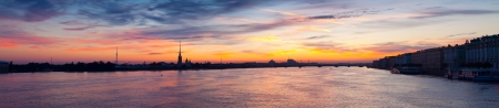 Panoramic view of Neva river summer dawn. St. Petersburg, Russia photo