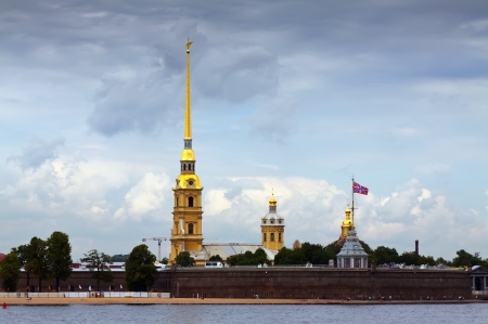 View of St. Petersburg. Peter and Paul Fortress in summer day photo