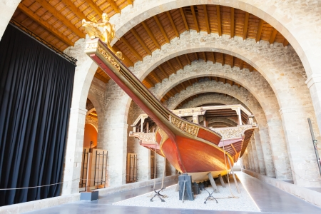 BARCELONA, SPAIN - JUNE 1: Copy of medieval ship in Museu Maritim de Barcelona in June 1, 2013 in Barcelona, Spain.  The museum was opened in 1929 and is located in the shipyards, built in 1283