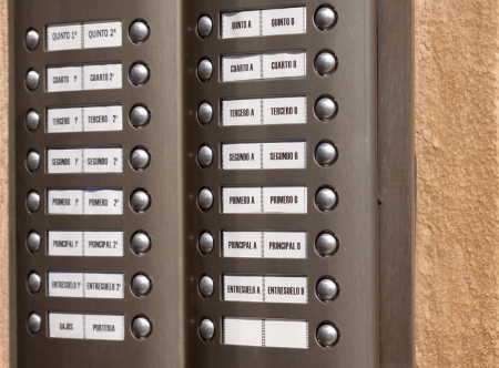 Close-up of building intercom with apartment numbers photo