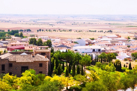 belmonte: General view of Belmonte with fields. Cuenca, Spain