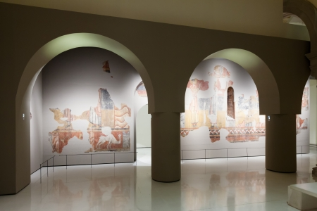 art museum: BARCELONA, SPAIN - AUGUST 8: Exhibits of National Art Museum of Catalonia de Barcelona on August 8, 2013 in Barcelona, Spain.  Fresco in  Medieval Romanesque Art hall