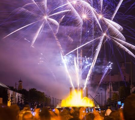 merce: Firework show in La Merce Festival at Barcelona. Spain