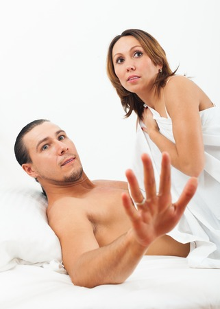 adult sex: Terrified adult couple caught during sex in bed
