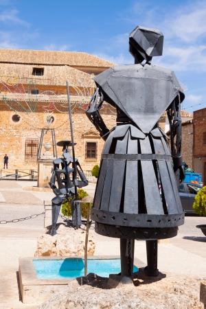 don quixote: EL TOBOSO, SPAIN - AUGUST 23: Monument of Don Quixote and Dulcinea on August 23, 2013 in El Toboso, Spain.  Town is famous for appearing in novel Don Quixote by Miguel de Cervantes