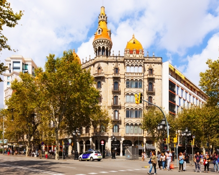 neogothic: BARCELONA, SPAIN - SEPTEMBER 12: Cases Pons on September 12, 2013 in Barcelona, Spain.  Was built in 1891 by Catalan architect Enric Sagnier, neo-Gothic style