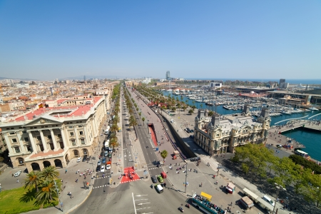 Wide angle shot of  Barcelona from Columbus statue. Spain photo