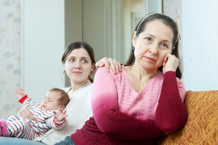 scandal: adult woman with baby tries reconcile with her mother. Focus on mature
