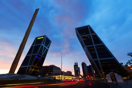 MADRID, SPAIN - AUGUST 28: La Puerta de Europa in evening on August 28, 2013 in Madrid, Spain. Monument to Calvo Sotelo, Caja Madrid Obelisk and KIO towers