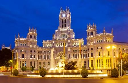 palacio de comunicaciones: View of Palacio de Cibeles in summer  night. Madrid, Spain Stock Photo